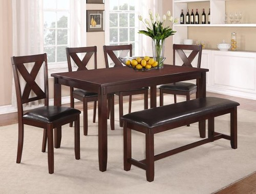 CLARA SIX PIECE BENCH DINING SET