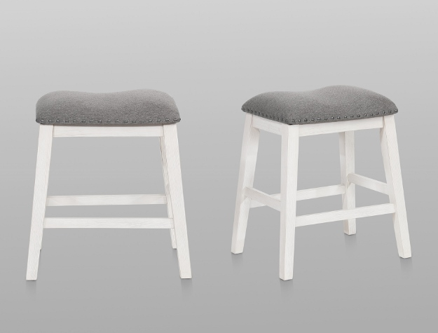 MASKEY WHITE COUNTER HEIGHT STOOLS